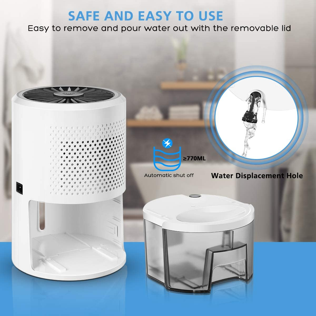Small Dehumidifier Safe Dehumidifier with Full Auto Shut Off Ultra Quiet Dehumidifiers 900ml