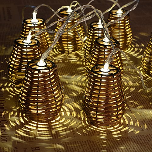 Outdoor String Llights Rattan Lamp - Hottly 10 Counts Rattan String Lights with Warm White Light, Decorative Lights for Indoor, Patio, Wedding, Christmas, Holiday, Garden and Party (Brown)  (Rattan Lights 10 Ball Set String)