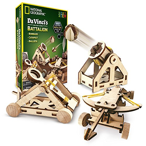 NATIONAL GEOGRAPHIC - Da Vinci's DIY Science & Engineering Construction Kit - Build Three Functioning Wooden Models: Catapult, Bombard & Ballista