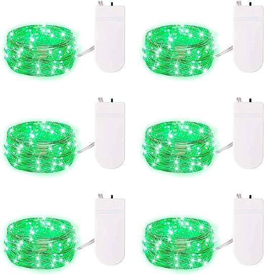 6 Pack hada verde cadena luces con pilas de la cadena luces luciérnaga luces LED Micro