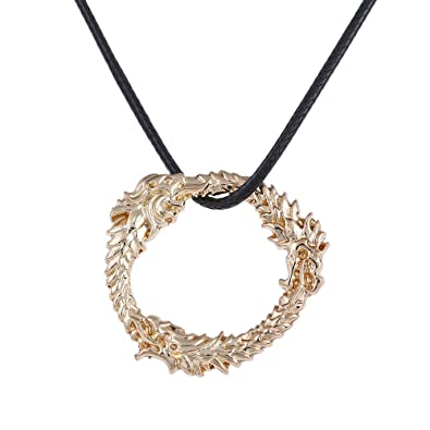 LUREME Skyrim Dragon Pendant Alloy Necklace Dragon Fantasy Amulet