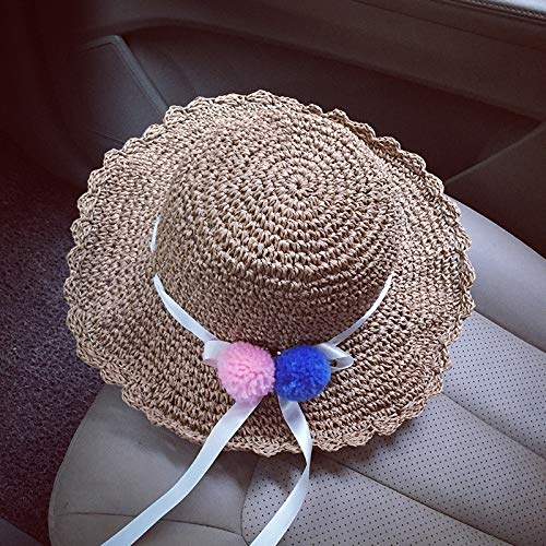 Ball Great Summer Vacation Travel Along Hollow Handmade Crochet Collapsible Straw hat Cap Beach Dayan Mao Women Girls Child (ppc-4279 Large-Brimmed Straw hat Khaki Ribbon bal ()
