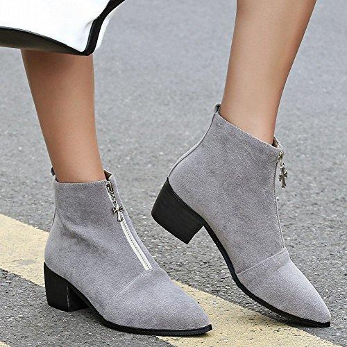 Charm Foot Womens New Chic Chunky Stivaletti Alla Caviglia Con Cerniera Grigia