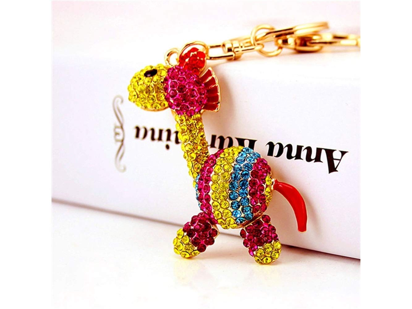 Car Keychain, Exquisite Cute Striped Zebra Keychain Animal Key Trinket Car Bag Key Holder Decorations(Colorful) for Gift