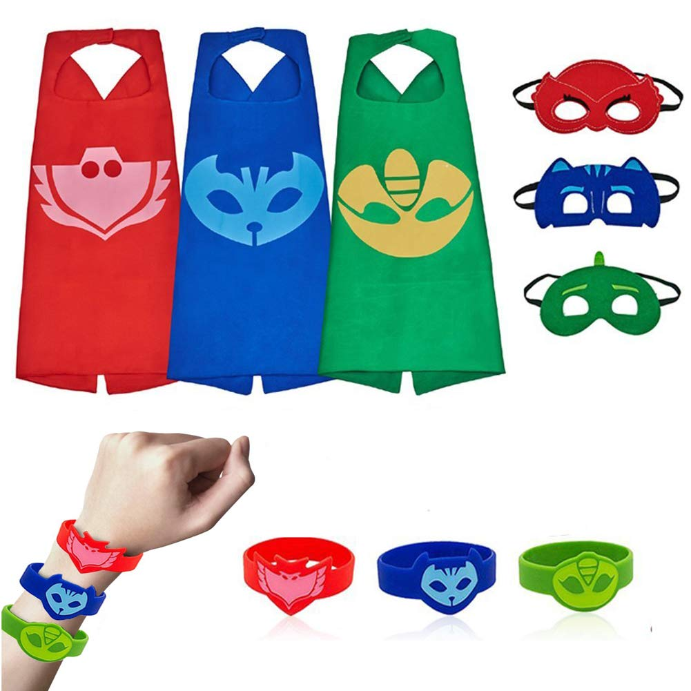 03024fd2ab7 Mizzuco Cartoon Dress Up Costume Satin Capes with Felt Masks for Kids