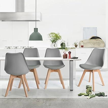 4 Sillas para Comedor tipo Frankfurt Gris: Amazon.com.mx: Hogar y Cocina