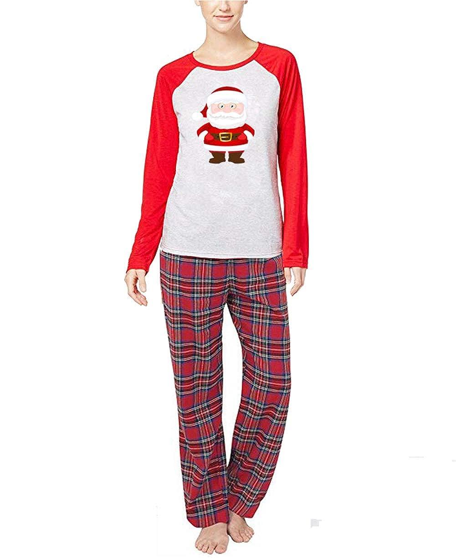 2Pcs Family Matching Christmas Santa Claus Outfits Long Sleeve T-Shirt Romper+Plaid Long Pants Pajamas