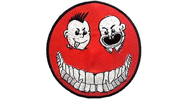 Smiley rojo parche Badge bordado hierro o coser en 8,9 cm: Amazon.es: Hogar