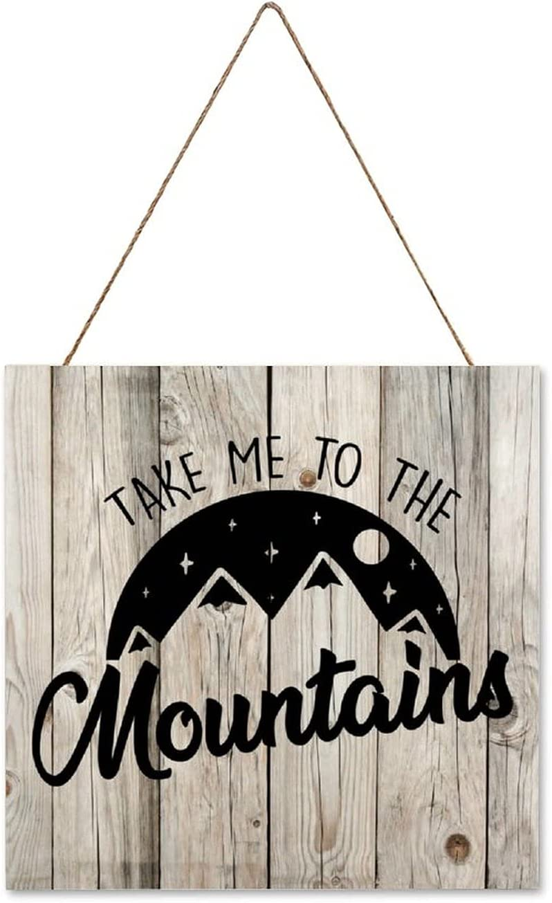 EricauBird Hanging Wood Sign Camping Wood Plaque Take Me to The Mountains 12