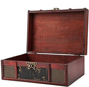 FTVOGUE Vintage Wooden Storage Box Large Size Book Jewelry Storing Storage Organizer Treasure Chest Home Decor(#1: Chinese Style)