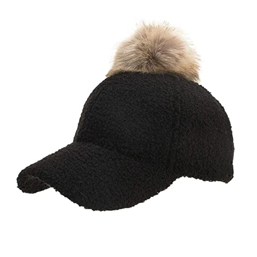 ead467bf8a2a8 Women Knit Baseball Cap Hairball Winter Casual Adjustable Warm Wool Sun Hat  Shade (Black)