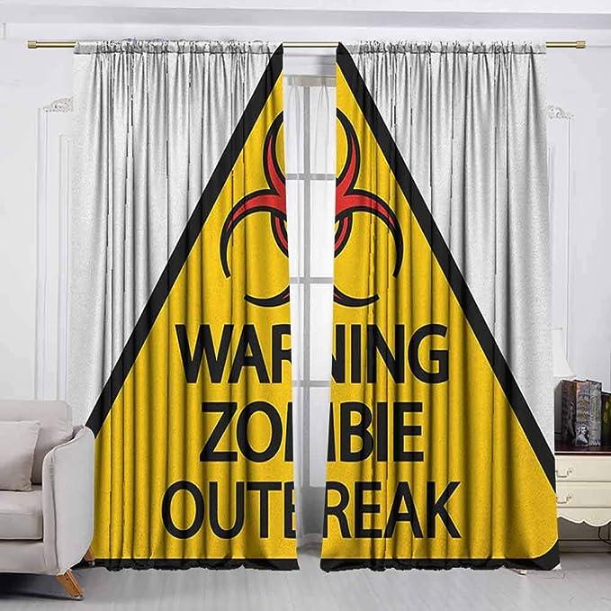 Amazon com: berrly Tie Up Window Drapes Living Room Zombie