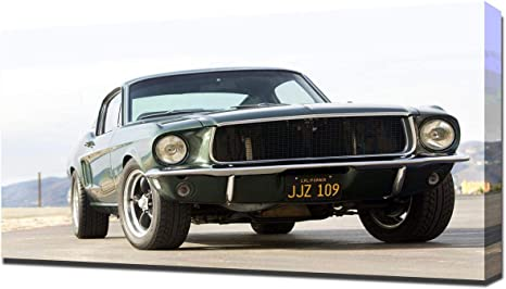 Art canvas painting Modern Wall Art Picture Canvas Paintings 1968 Mustang GT Fastback Classic Car Posters HD Print for Living Room Decor 60x90cm