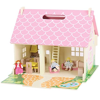 Bigjigs Toys Heritage Playset Blossom Cottage  Wooden Doll House