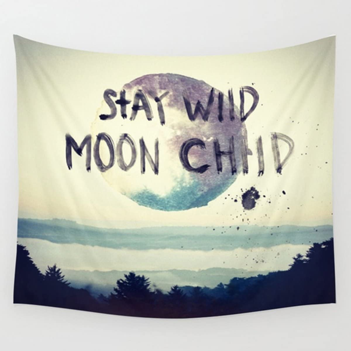 Koongso Moon and Forest Tapestry Wall Hanging,Stay Wild Moon Child Printed Hippie Wall Art Hanging Tapestry Dorm Decor