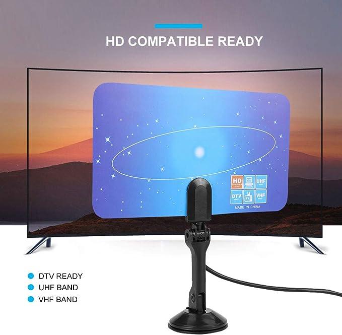 ASHATA Antena de TV, Antena Digital de Interior 1080P HD/DTV/UHF/VHF Receptor HDTV Antena de Interior, Paper Thin Antenna HD Digital TV Antena con Soporte para Todos los televisores Inteligentes: Amazon.es: Electrónica