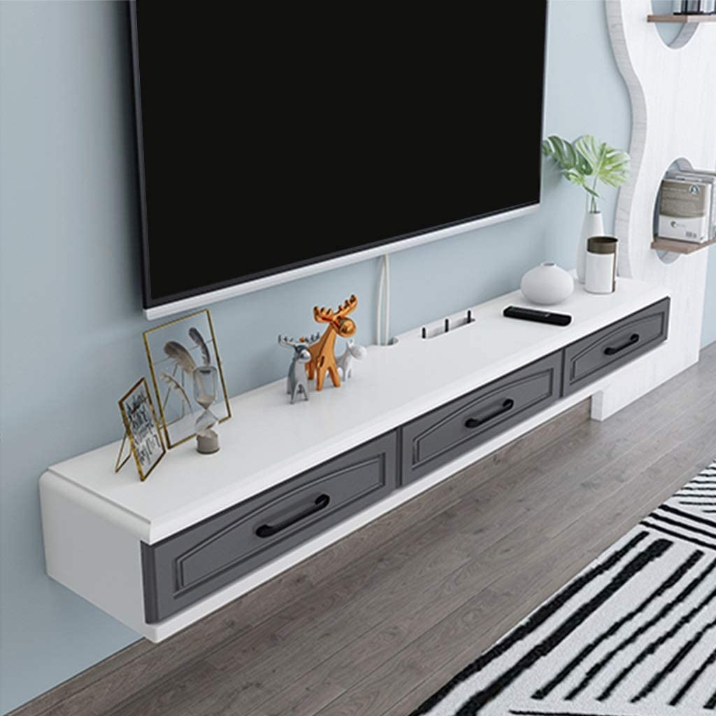 TV Ark Floating TV Console Cabinet TV Bench with Three Independent Spaces Modern Furniture 2 Drawers Minimalist Storage Shelf Router /& Cable Box Locker Color : Gray+White, Size : 120cm 47.2in
