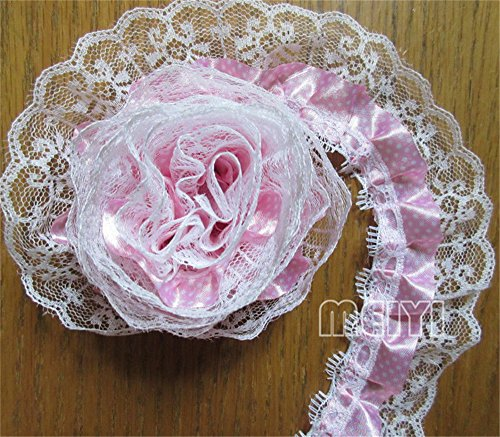 5 Meters 2-layer Pleated Organza Dot Lace Edge Gathered Mesh Trim Ribbon 5 cm Width Vintage Style Pink Edging Trimmings Fabric Embroidered Applique Sewing Craft Wedding Dress DIY Clothes Embellishment