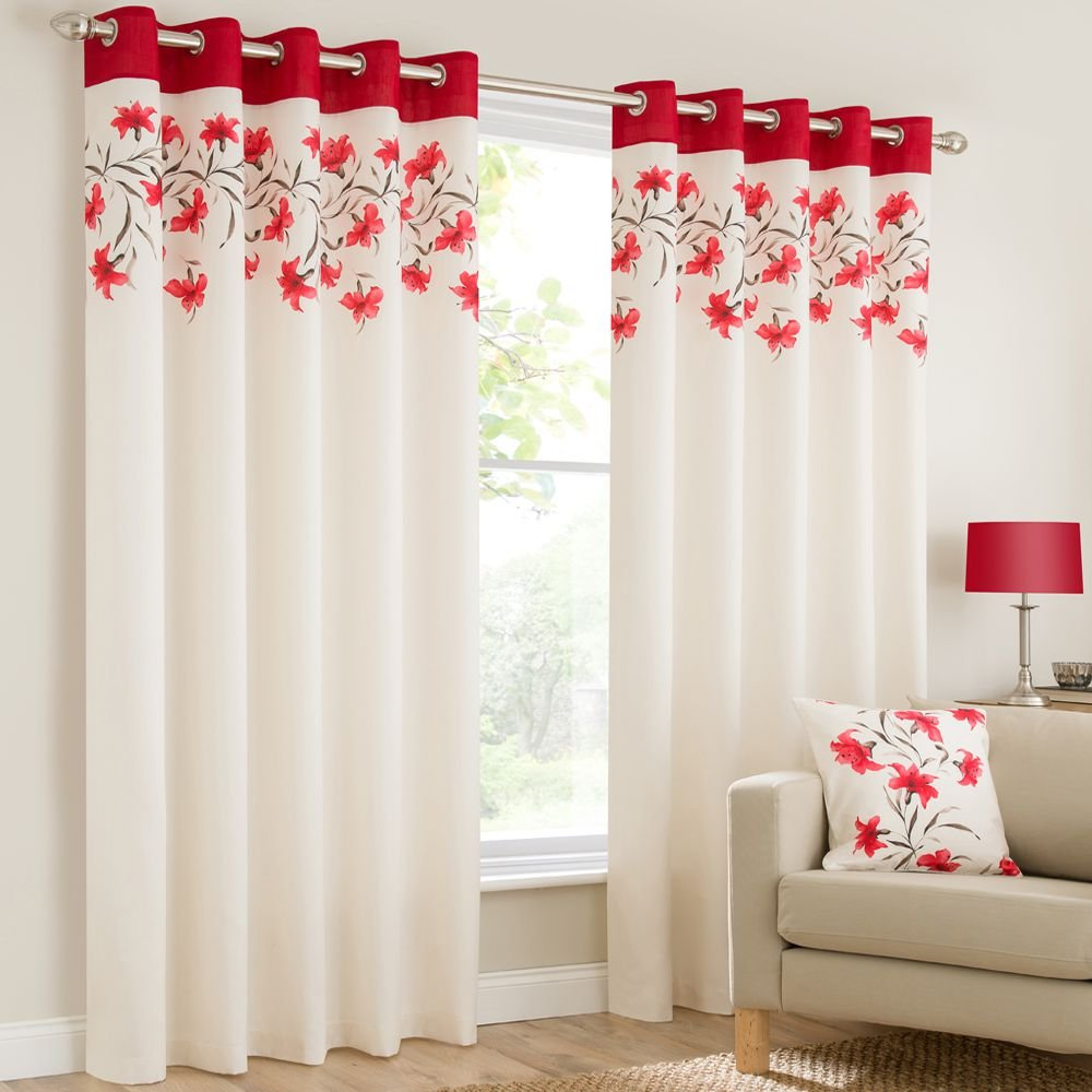 Plain Faux Silk Look Eyelet Ring Top Poppy Red Cream Brown Fully Lined Curtains Lily Flowers
