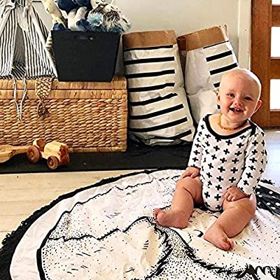 HILTOW Round Rugs Baby Rug Nursery Rugs Cute Fox Design Home Decoration Area Rugs Bedroom/Living Room Carpet Mat Baby Crawling Mats Kids Play Mat Machine Washable Rugs (Whilte,Diameter : 39 inches)