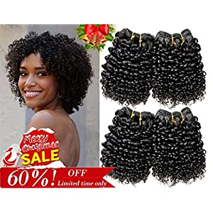 Ameli Curly Hair 4 Bundles Short Human Hair Weave Bundles Brazilian Kinky Curly Virgin Human Hair Extensions 8 inch 50g/Bundle Natural Color