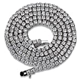 JINAO 1 Row 2.5MM Diamond Iced Out Chain Silver Plated Macro Pave CZ Hip Hop Tennis Necklace 18'' 22'' (Silver 22'')