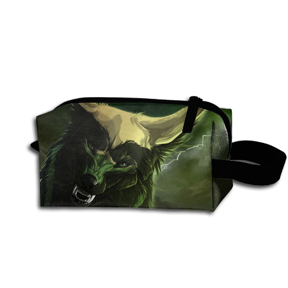Makeup Cosmetic Bag Animals Wolf Zip Travel Portable Storage Pouch For Men Women