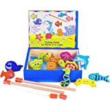 Moombike Wooden Fishing Game Playset, Magnetic Fishing Game with 12 Fishes and 2 Magnetic Fishing Poles, Catch a Fish Toy Competion Game, Brithday Gift for Kids