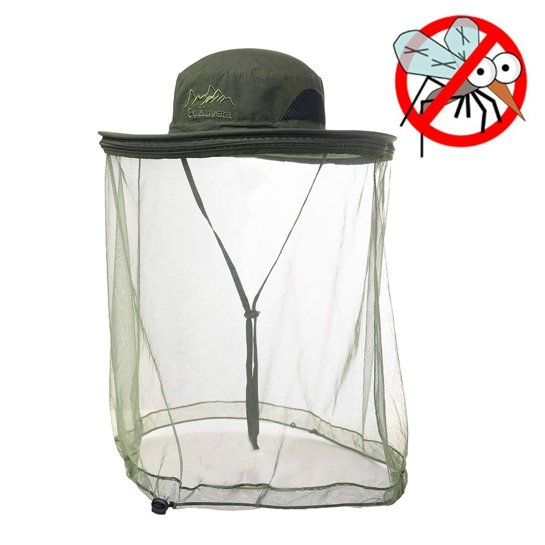 Mens Outdoor Safari Sun Blocker Protection SPF50 Fishing Bonnie Nets Mesh Bucket Hat for Large Head Women Green