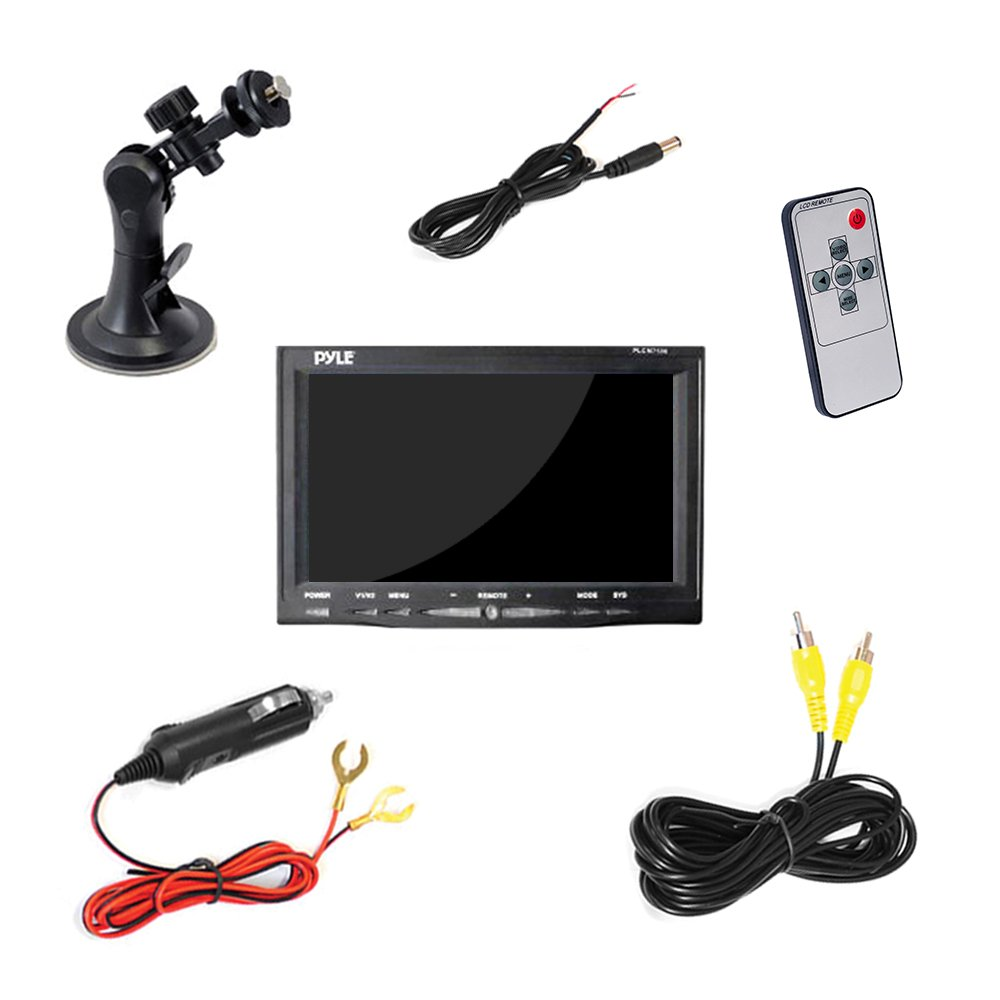 "... System w/ Parking and Reverse Assist Safety Distance Scale Lines,  Waterproof & Night Vision, 7"" LCD video Color Display for Vehicles - Pyle  PLCM7500: ..."