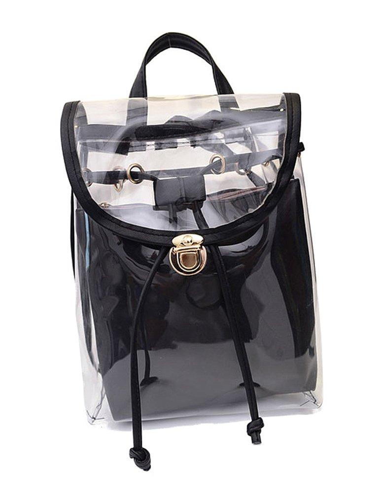 Jesdo Women's 2 in 1 Clear Drawstring Backpack Transparent Travel Beach Handbag Bag (Black)