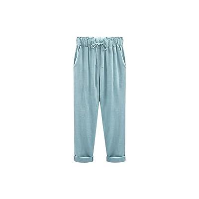 Wide Leg Pants Harem Pant Female Trousers Casual Spring Summer Loose Cotton Linen Overalls Pants Plus Size Candy Color, Sky Blue, XXXL: Ropa y accesorios