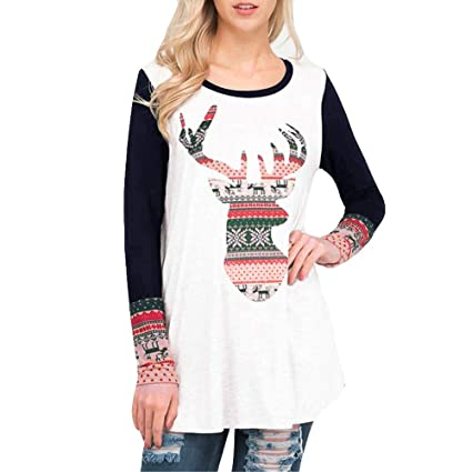 a537f015f0eed Amazon.com  Franterd Merry Christmas Tops Women Xmas Pullover Christmas Elk  Long Sleeve Blouse T-Shirt  Sports   Outdoors