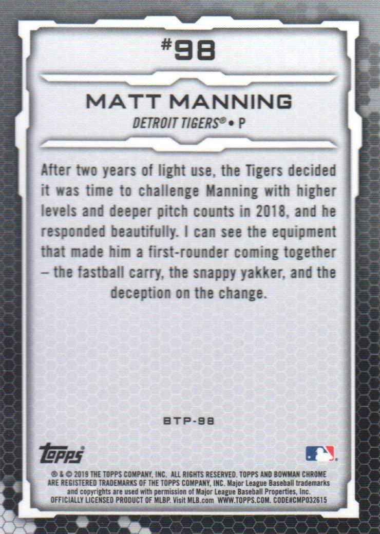 Honkbal 2019 Bowman Scouts Top 100 Chrome Atomic Refractor #BTP-98 Matt Manning Card