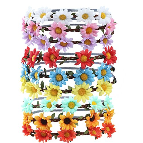 Party Bohemia Flower 9 Multicolor Color Girl Garland Pieces Floral Wedding for Women Multi Headband Hair for Crown Accessories AWAYTR style B Festival xXSqaCqw