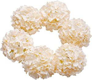 DuHouse Hydrangea Silk Flowers Large Artificial Flowers with Stem Fake Champagne Flower Heads for Wedding Centerpiece Home Decor Pack of 6