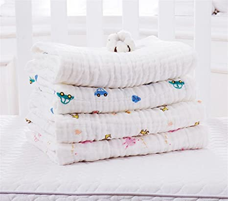 Amazon.com : 105105cm 6 Layers Baby Bath Towel Soft Cotton Muslin Towel Blanket Swaddle Absorbent Thick Face Hand Towels for Newborn Baby White (Bunny ...
