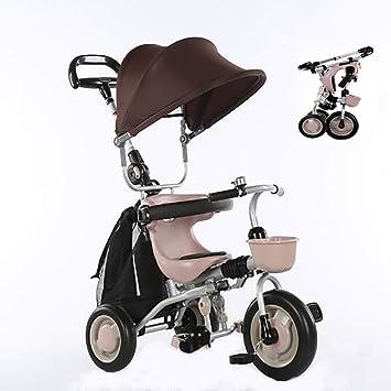 Aocean Triciclo Plegable Bicicleta Bebe Evolutivo Bicicleta para Bebes Evolutivo con Parasol y Putter 1-6 año Tricilo para niños Plegable con Cubierta de Lluvia, Khaki: Amazon.es: Deportes y aire libre