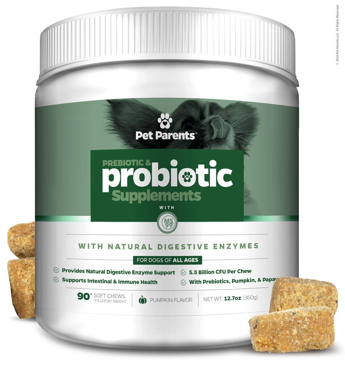 Pet Parents USA Pre & Probiotics for Dogs 4g 90c - 5.5B CFUs/Chew + Dog Enzymes + Pumpkin for Dogs, Papaya & Canine Probiotics - Dog Upset Stomach Relief, Anti Diarrhea for Dogs, Dog Probiotics by Pet Parents