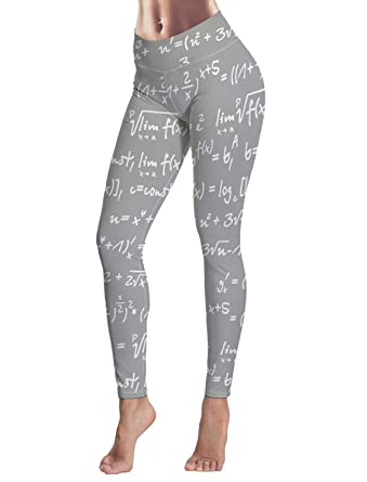 a9130f6f921754 EZON-CH Women's Yoga Pants for Sport Running Fitness,Grey Mathematical  Equation Stretch Tummy