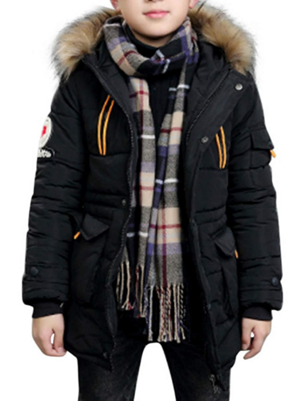 Percy Perry Kids Winter Solid Color Parka Fur Collar Hoodie Zipper Jacket Soft Long Sleeve