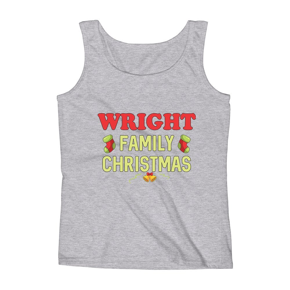 Mad Over Shirts Wright Family Christmas Unisex Premium Tank Top