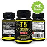 Natural T5 Thermogenic Fat Burner – Increases Energy and Metabolism Levels – 100% Organic and Safe Ingredients – Powerful Weight Loss Pills – Appetite Suppression Supplement 60 Veggie For Sale