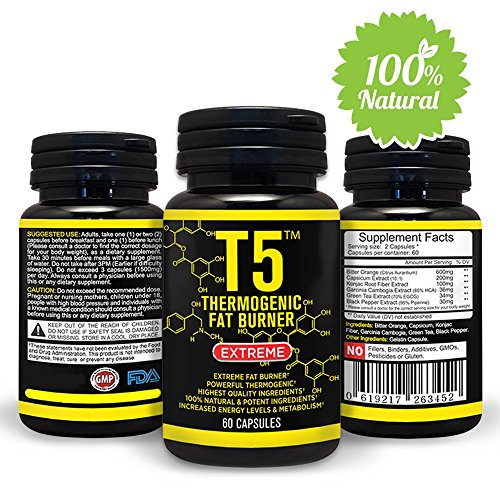 Natural T5 Thermogenic Fat Burner - Increases Energy and Metabolism Levels - 100% Organic and Safe Ingredients - Powerful Weight Loss Pills - Appetite Suppression Supplement 60 Veggie