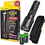 Nitecore P20UV 800 lumen Tactical Duty LED Flashlight with Built-in UV Black Light and 2 X EdisonBright CR123A Lithium batteries bundle