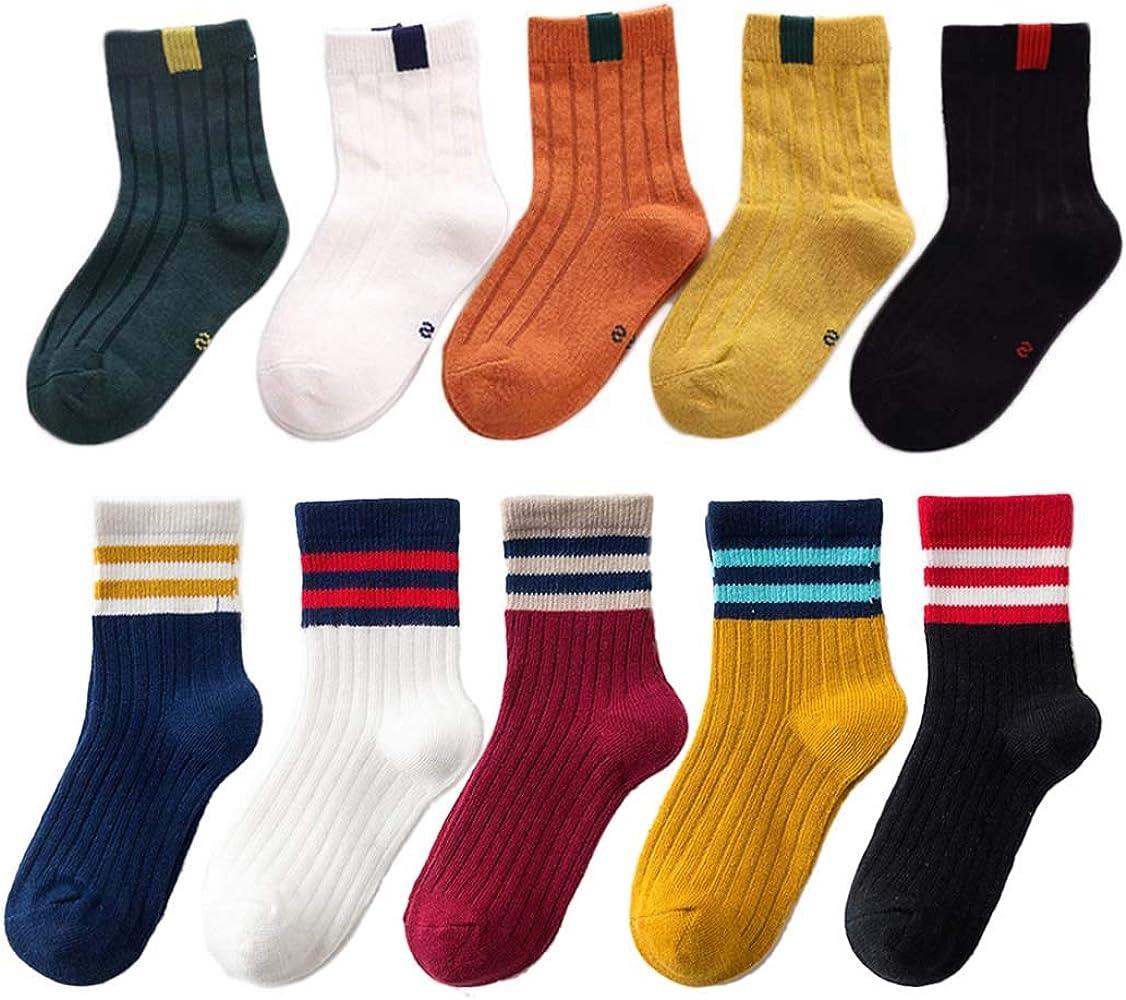 8035bb56734c3 FYGOOD Lot de 10 paires Chaussettes Enfant fille garcon Coton Souple  Motif-A L(