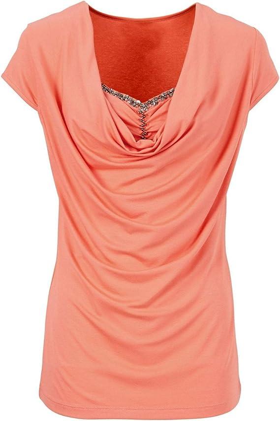 SYGoodBUY Camiseta de Manga Corta de Mujer Sexy Top de Algodón Grueso Blusa Túnica Chic Tamaño Grande Verano (Color : Sandía, Tamaño : S): Amazon.es: Ropa y accesorios