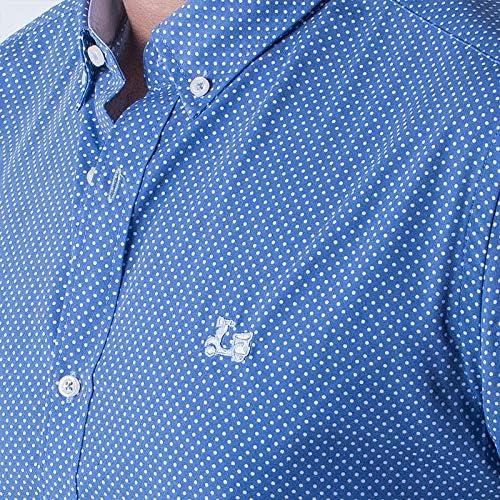 Ridebike New Model | Camisa Azul con topitos Blancos| Logo Bordado La Vespa | Diseño de Los Puños a Juego con el Cuello (1803) (S): Amazon.es: Ropa y accesorios
