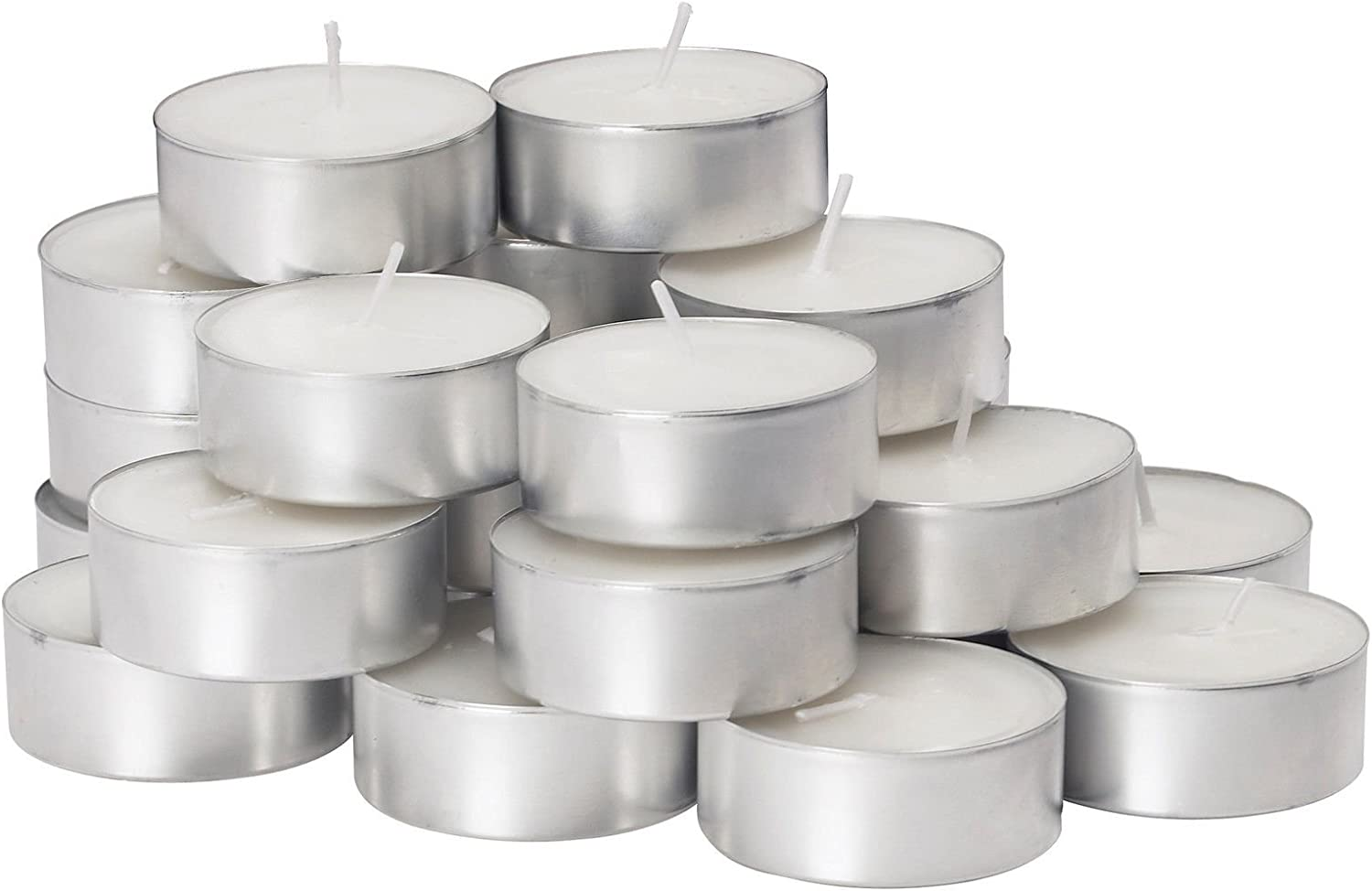D'Light Online Extended Burn 7 Hour Long Burn Unscented White Tealight Candles in Aluminum Cups - Set of 400