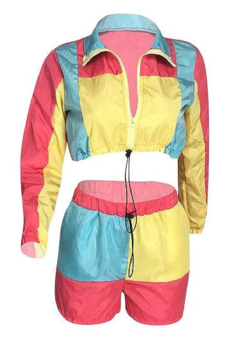 pipigo Women Short Crop Athletic Jacket Shorts Color Blocked 2 PCS Outfits Tracksuit Sets